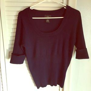 New York Clothing Co. Navy Cuff Sleeve Sweater 1X